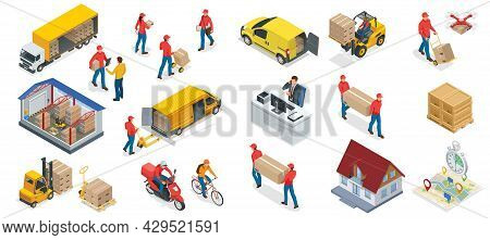 Isometric Big Set Iconf Of Logistics And Delivery Elements. Delivery Home And Office. City Logistics