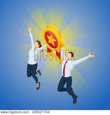 Isometric Happy Man And Woman Holding Golden Medal And Celebrating Victory. Golden 1st Place Badge.