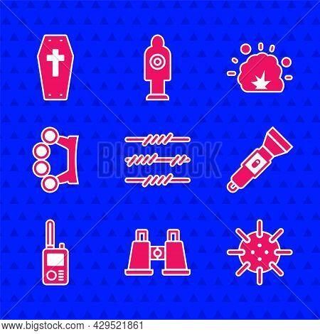 Set Barbed Wire, Binoculars, Naval Mine, Flashlight, Walkie Talkie, Brass Knuckles, Bomb Explosion A