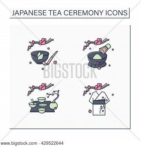 Japanese Tea Ceremony Color Icons Set. Kimono, Kaiseki, Tea Whisk And Scoop. Japan Ancient Tradition