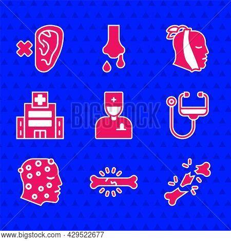 Set Male Doctor, Bone Pain, Human Broken Bone, Stethoscope, Psoriasis Eczema Rash, Medical Hospital
