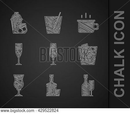 Set Glass Of Champagne, Whiskey Bottle And Glass, Wine With, Whiskey, Beer, Coffee Cup And Cocktail