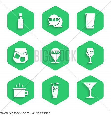 Set Alcohol Bar Location, Cocktail, Martini Glass, Glass Of Champagne, Coffee Cup, Whiskey, With Wat