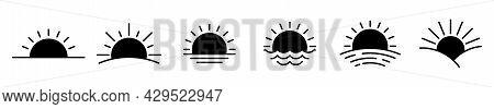 Sunset Icon. Black Sunshine Icons. Vector Illustration. Sunrise Vector Icons.