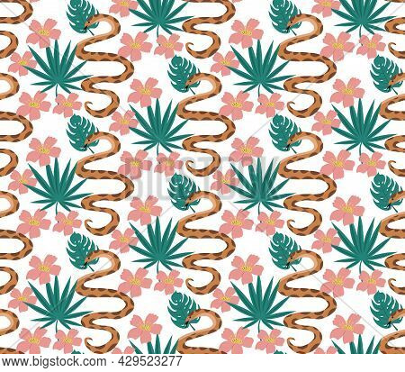 Beautiful Seamless Pattern With Python And Tropical Leaves. Flowers Print With Hand Drawn Exotic Pla