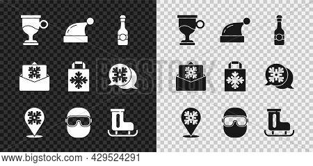 Set Mulled Wine, Christmas Santa Claus Hat, Champagne Bottle, Snowflake, Ski Goggles, Figure Skates,