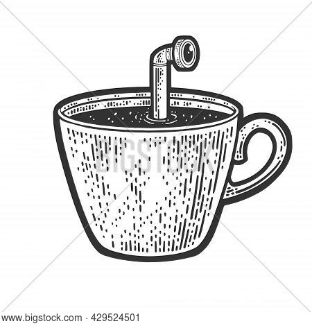 Periscope Of Submarine In Coffee Cup Sketch Engraving Vector Illustration. T-shirt Apparel Print Des