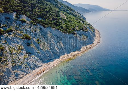 Coastline With Sea And Rocky Cliff. Summer Day On Sea. Aerial View