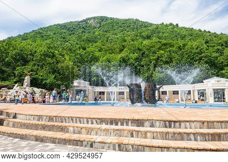 Zheleznovodsk - August 07:  A Beautiful Fountain In Resort Park Of The City, In Front Of Smirnovsky