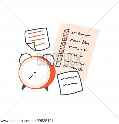Classic Alarm Clock And Paper Notes. Checklist And Memo Stickers. Concept Of Management And Daily Pl