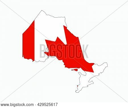 Ontario Map On Canadian Flag. On, Ca Province Map On Canada Flag. Eps Vector Graphic Clipart Icon