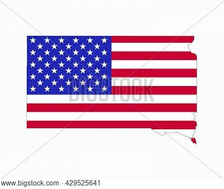South Dakota Map On American Flag. Sd, Usa State Map On Us Flag. Eps Vector Graphic Clipart Icon