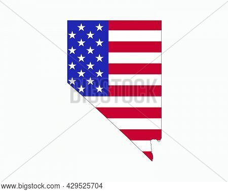 Nevada Map On American Flag. Nv, Usa State Map On Us Flag. Eps Vector Graphic Clipart Icon