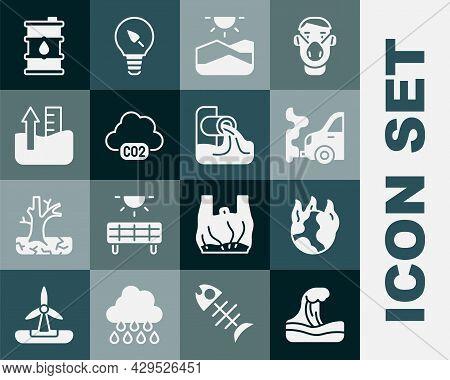 Set Tsunami, Global Warming Fire, Car Exhaust, Drought, Co2 Emissions Cloud, Rise Water Level, Barre