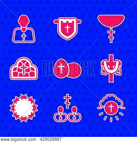 Set Easter Egg, Priest, Religious Cross In Circle, Christian, Crown Of Thorns, Stained Glass, On Cha
