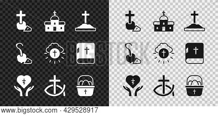Set Christian Cross, Church Building, Grave With, Religious Heart, Fish, Basket Easter Eggs, Magic S