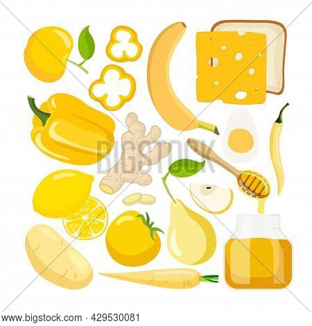 Yellow Vector Food. Colored Vegetables And Fruits And Other Food On White Background. Fresh Organic