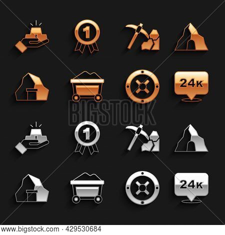 Set Mine Cart With Gold, Gold Mine, Bars 24k, Safe, Mining, And Medal Icon. Vector