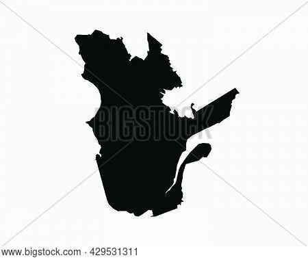 Quebec Canada Map Black Silhouette. Qc, Canadian Province Shape Geography Atlas Border Boundary. Bla