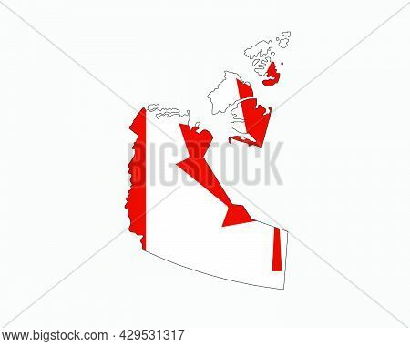 Northwest Territories Map On Canadian Flag. Nt, Ca Territory Map On Canada Flag. Eps Vector Graphic