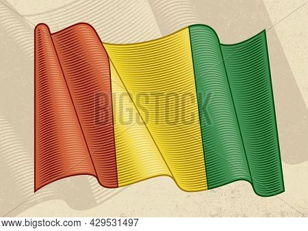 Vintage flag of Guinea in woodcut style