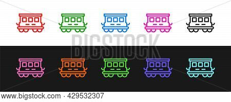 Set Line Passenger Train Cars Toy Icon Isolated On Black And White Background. Railway Carriage. Vec