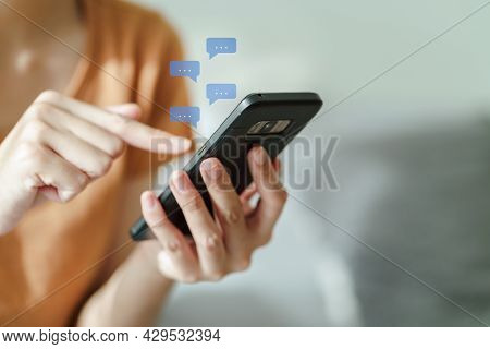 Young Asian Woman Using Smartphone Typing, Chatting Conversation . Social Network, Technology Concep