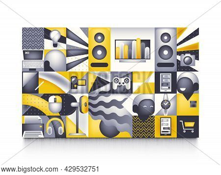Tech Store Vector Concept Illustration With Technics Icons