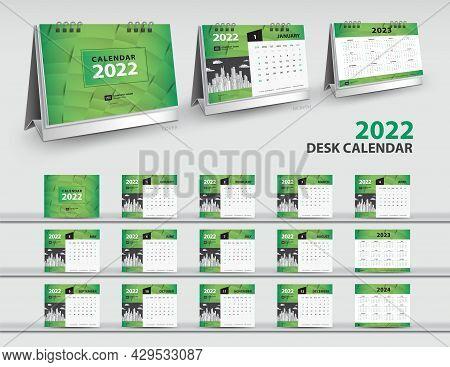 Calendar 2022, 2023, 2024 Year Template, 3d Mockup Desk Calendar 2022, Wall Calendar Design, Green C
