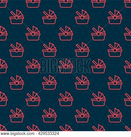 Red Line Baby Stroller Icon Isolated Seamless Pattern On Black Background. Baby Carriage, Buggy, Pra