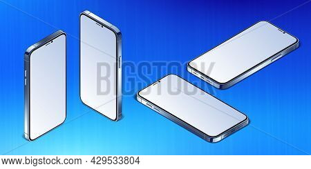 Modern Mobile Phone Devise With Empty Screen Vector Mockup