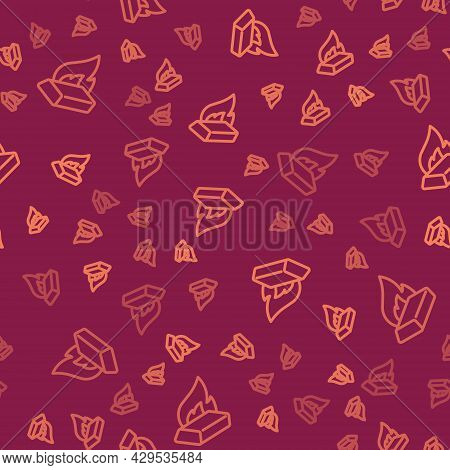 Brown Line Molten Gold Being Poured Icon Isolated Seamless Pattern On Red Background. Molten Metal P