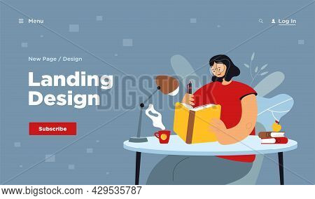 Woman Writing In Notebook. Female Student Reading Book And Taking Notes. Girl Keeping Diary. Vector