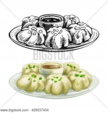 Baozi With Sauce On Plate. Vintage Vector Hatching Color Hand Drawn Illustration Isolated On White B