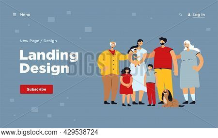 Happy Big Family Standing Together And Smiling Flat Vector Illustration. Cartoon Father, Mother, Gra