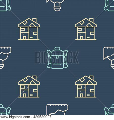 Set Line Growth Of Homeless, Homeless Cardboard House And Hiking Backpack On Seamless Pattern. Vecto