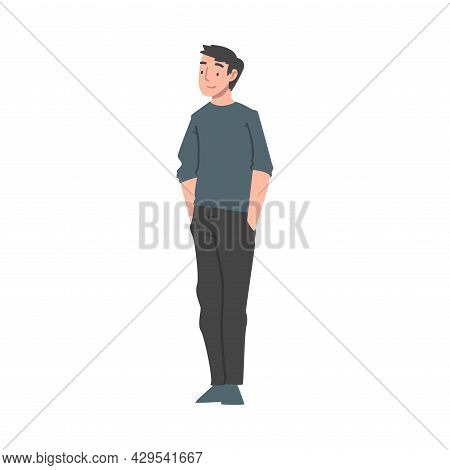 Positive Man Character Standing With Smiling Face Feeling Euphoric And In High Spirits Vector Illust