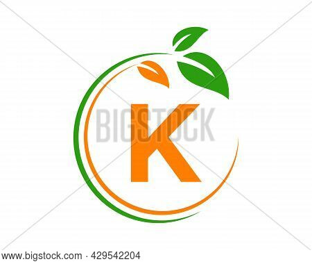 Eco Logo With K Letter Concept. K Letter Eco Healthy Natural Logo