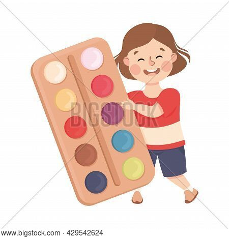 Cute Girl With Huge Watercolour Paints As School Stationery Vector Illustration