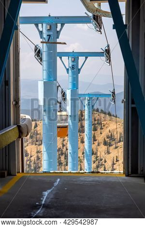 Cable car towers at Monarch pass in Colorado carry visitors to mountain top