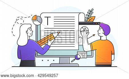 Male And Female Characters Editing Online Document Together. Blogger, Copywriter, Journalist. Editor