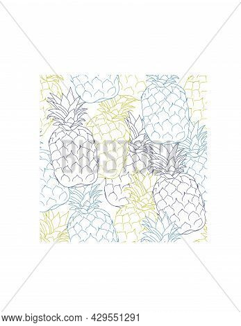 Seamless Summer Pineapple Fruit Pattern Design. Repeatable Endless Pattern Texture With Tropical Pin