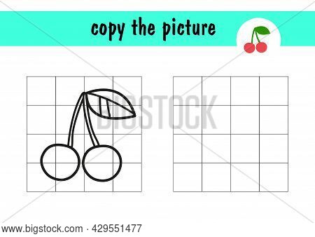 Children S Mini Game On Paper. Draw The Cherry By Repeating The Example On The Right. Copy The Fruit