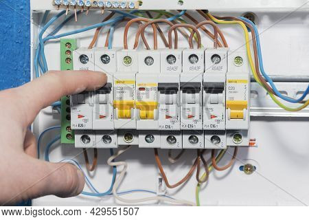 Automatic Overload Protection Devices In The Power Supply Network. Circuit Breakers Or Fuses Are An