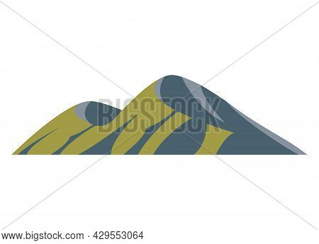 Top Mountains Hill Peaks Vector Logo Silhouette Illustration. Outdoor Isolated Sun Landscape Icon El