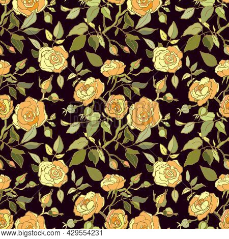 Cute Floral Pattern Of Yellow Roses Flowers. Seamless Print With Wild, Garden Flowers. Vintage Colle