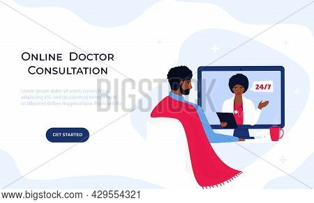 Telemedicine. Online Doctor Consultation. The Patient Is At A Remote Appointment With A Therapist. A