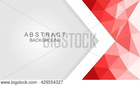 Modern Abstract Red And White Background. Concept Of Colorful Abstract Templates For Further Creativ