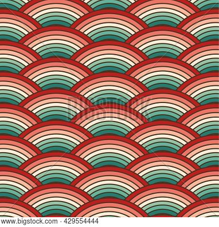 Retro Colorful Summer 70s Curved Rainbow Stripes Pattern. Retrowave Art Rainbow. Turquoise And Orang