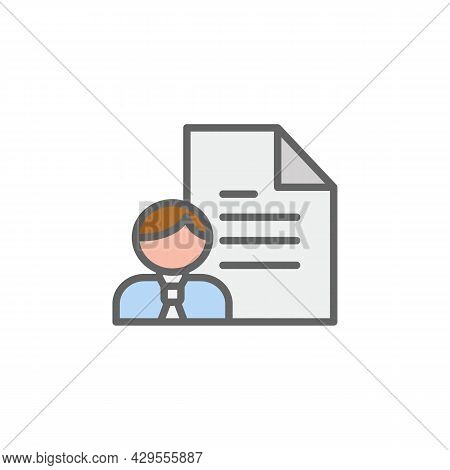 Curriculum Men Paper Outline Colored Icon. Elements Of Business Illustration Line Colored Icon. Sign